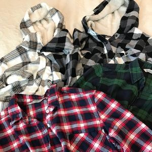 Lot of 4 Bluenotes flannel plaid button up shirts